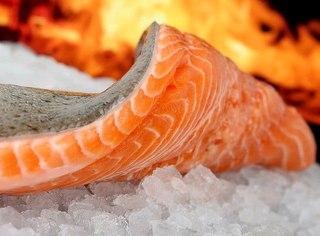 frozen salmon and fire