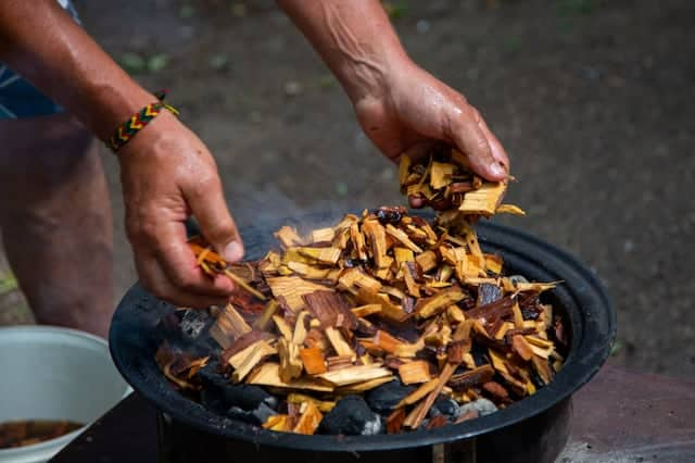 wood chips on charcoal